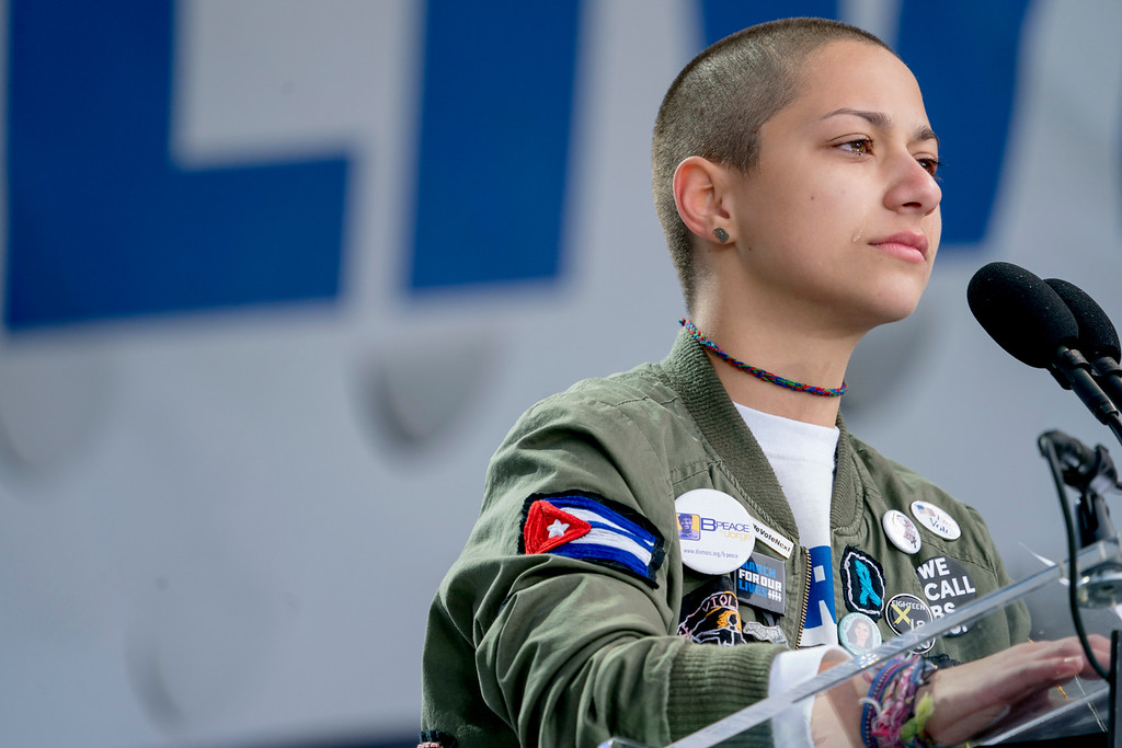 ". Emma Gonzalez, a survivor of the mass shooting at Marjory Stoneman Douglas High School in Parkland, Fla., closes her eyes and cries as she stands silently at the podium for the amount of time it took the Parkland shooter to go on his killing spree during the ""March for Our Lives\"" rally in support of gun control in Washington, Saturday, March 24, 2018. (AP Photo/Andrew Harnik)"