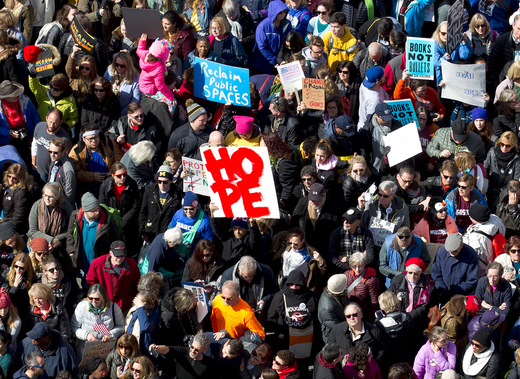""". Protesters on Pennsylvania Avenue, as seen from the Newseum, during the \""""March for Our Lives\"""" rally in support of gun control in Washington, Saturday, March 24, 2018. (AP Photo/Jose Luis Magana)"""