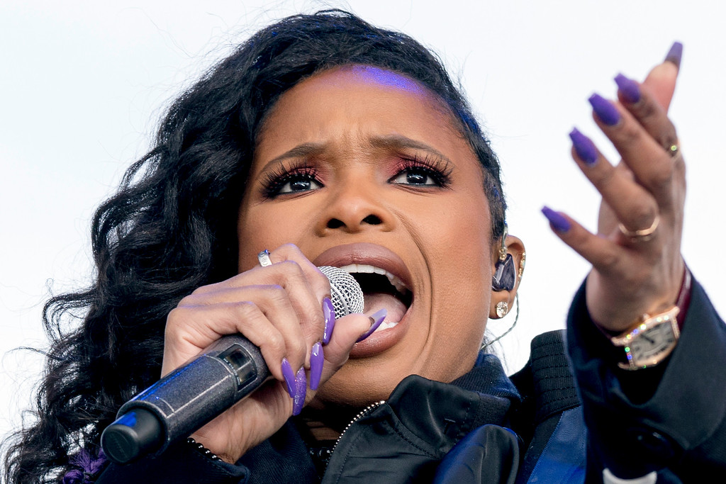 """. Jennifer Hudson and the DC choir perform \""""The Times They Are A Changin\'\"""" during the \""""March for Our Lives\"""" rally in support of gun control in Washington, Saturday, March 24, 2018. (AP Photo/Andrew Harnik)"""
