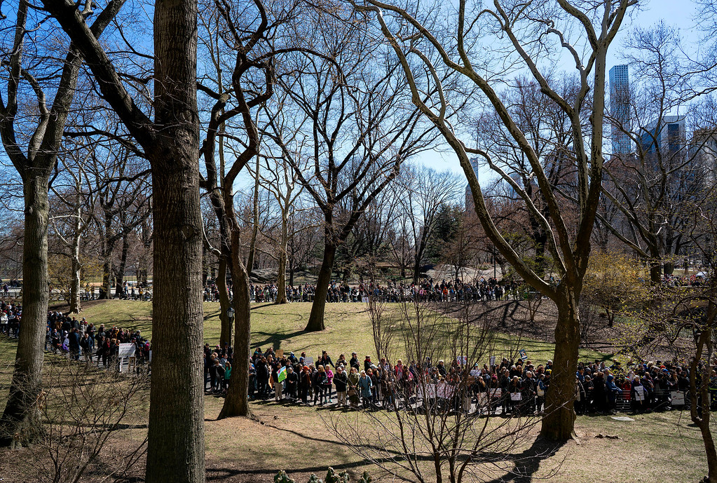 . An overflow crowd gathers in Central Park as people take part in a march and rally against gun violence along nearby Central Park West Saturday, March 24, 2018, in New York. Students and activists across the country planned events n conjunction with a Washington march spearheaded by teens from Marjory Stoneman Douglas High School in Parkland, Fla., where 17 people were killed in February.  (AP Photo/Craig Ruttle)