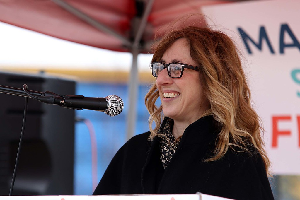 . Fitchburg Chairperson for the Conservation Commission Tracey Betts Sarefield addresses the crowd at the March for Science in Fitchburg on Saturday afternoon. SENTNEL & ENTERPRISE/JOHN LOVE