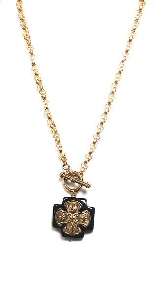 """7-TOG-RM104 CO79  BIG ONYX CROSS WITH A BRONZE CROSS PLANTED ON IT, ON A BRONZE LARGE ROLO CHAIN WITH A FRONT CLOSURE TOGGLE  16"""""""