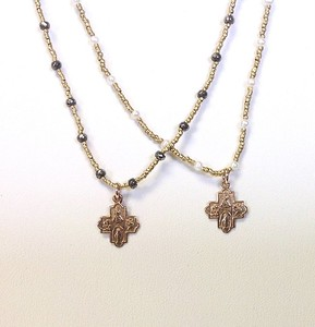 "LEFT:  7-RM83-HPY CO49  RIGHT:  7-RM83-HWT CO49 SMALL BRONZE 4 WAY CROSSES ON GOLD HEISHI WITH PYRITE AND WHITE PEARLS  16"" + 2.5"" EXT"