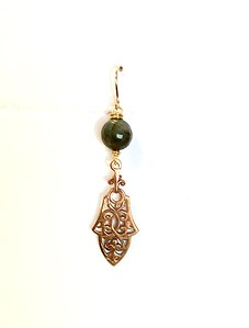 8-LAB-801 CO44  LABRADORITE BEAD HOLDING FILIGREE PENDANT