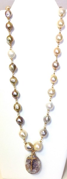 """7-MP-DRZ CO189  LARGE HAND KNOTTED ORGANIC PEARLS, SOMETIMES CALLED MING PEARLS, WITH A PENDANT OF AMETHYST DRUZY AND A BRONZE CROSS 28"""" + 3"""" EXT"""