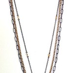 7-BC-3VC CO108 BLACK CRYSTAL CROSS ON 3 STRANDS OF VINTAGE CHAIN
