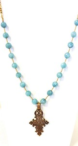 7-RM284-BA CO109  COPTIC CROSS ON BLUE AGATE AND GOLD HEISHI  28""
