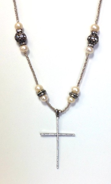 """7-CZC-WPRS CO118  CZ CROSS ON SILVER PLATED HEISHI WITH WHITE PEARLS AND RHINESTONES  27"""""""