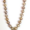 7-MP-RS CO178 KNOTTED ORGANIC OR MING PEARLS WITH AGED RHINESTONE AND PEARL PENDANT