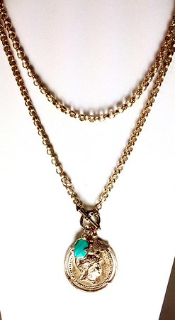 """7-GM10-TQ CO123  GODDESS ATHENA MEDAL WITH DOVE AND TURQUOISE ON BIG BRONZE ROLO CHAIN  36"""""""