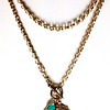7-GM10-TQ CO123  GODDESS ATHENA MEDAL WITH DOVE AND TURQUOISE ON BIG BRONZE ROLO CHAIN  36""
