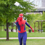 Spiderman plays cornhole.