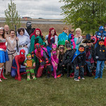 Louisville Costume Performers with walk kids.