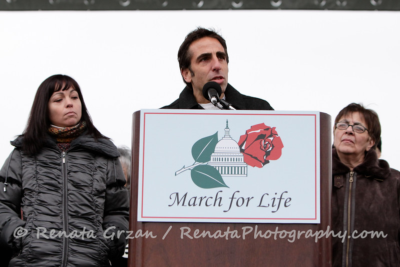"""Bobby Schindler, brother of Terri Schindler Schiavo addresses the Marchers.  On the left, his sister Suzanne Schindler Vitadamo. On the right, his mother Mary Schindler. Visit:  <a href=""""http://www.terrisfight.org"""">http://www.terrisfight.org</a> to see how The Terri Schindler Schiavo Foundation, is helping persons with disabilities, and the incapacitated who are in or potentially facing life-threatening situations."""