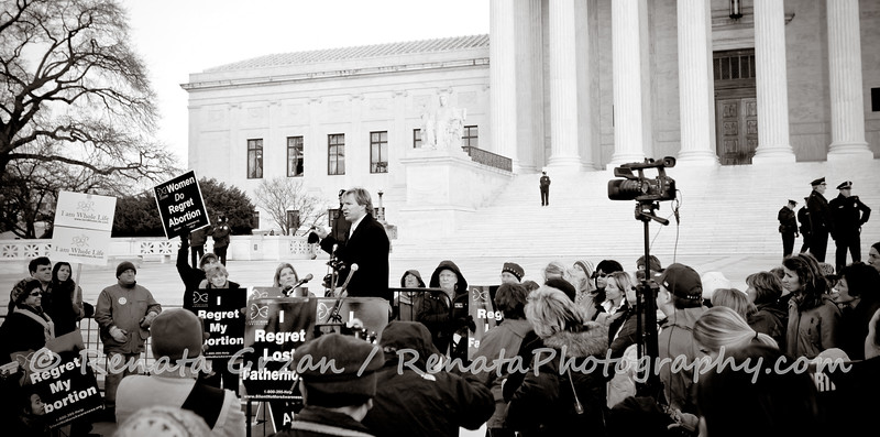 Jason Jones shares his testimony of lost fatherhood with Silent No More in front of the Supreme Court Building.