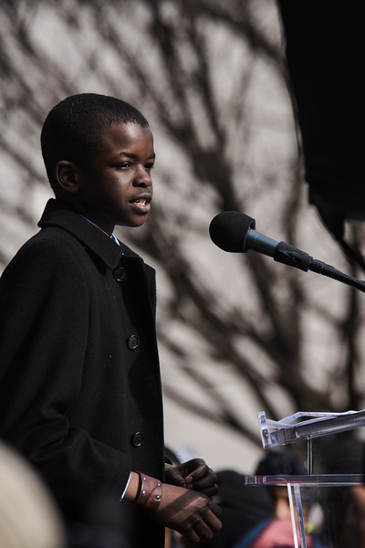 Ryan Battle speaks at the Rally for DC Lives in Folger Park in Washington, DC on March 24, 2018.