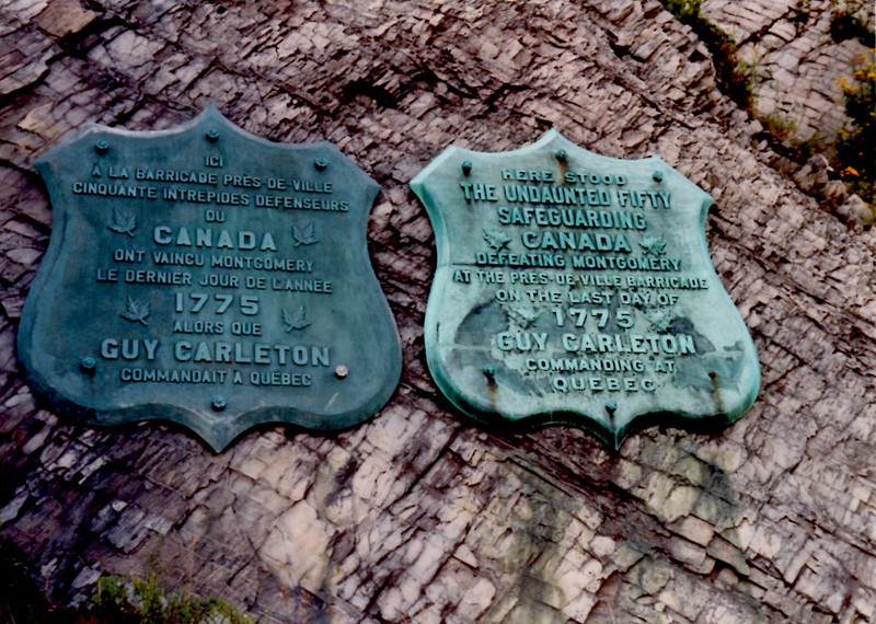 The plaques as they looked in the 1990s when attached to the cliff face.