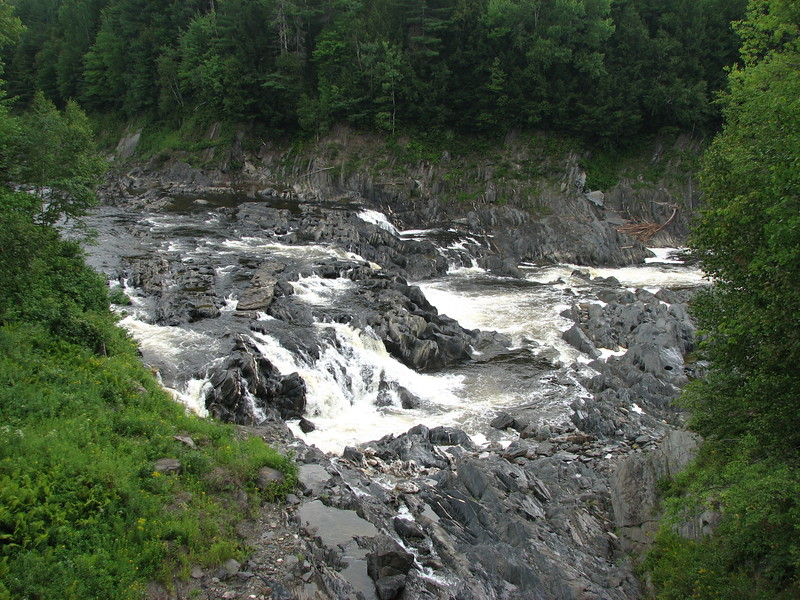 View of the Grande Sault from the highway bridge. These are actually the lower falls, as another set of cascades are upstream from here.