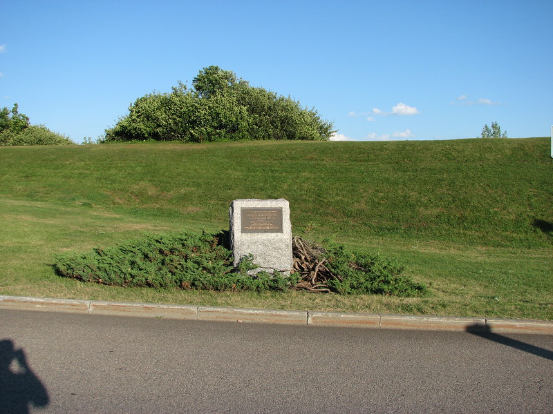 View of the monument, with the American earthworks visible behind it