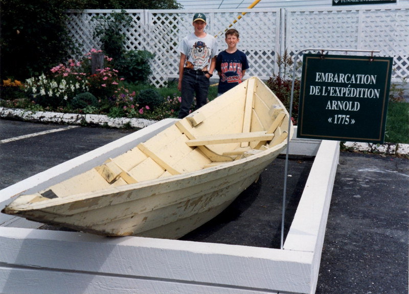 Back in the 1990s there was a motel in St. Georges named for Benedict Arnold. In front was displayed this batteau donated to the motel by the re-enactors of Arnold's March in 1975. I do not know what happened to the batteau when the motel closed.