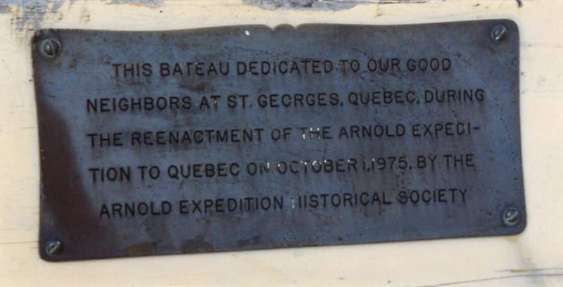 Dedication plaque that was on the batteau