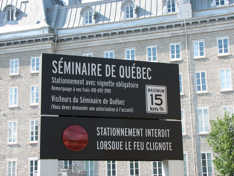 Sign at the entrance of the Seminary on Rue des Remparts