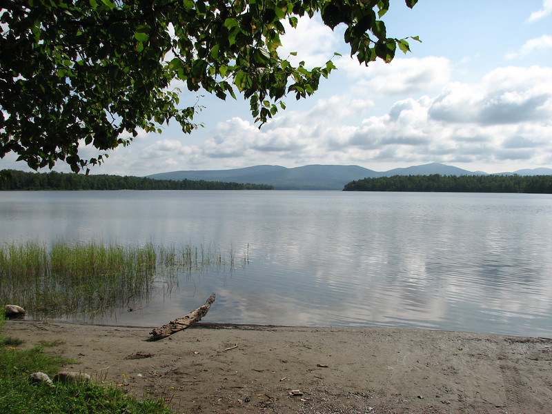 View of Spider Lake from the boat launch. Four hundred Expedition members were traversing around the far side of this lake when they encountered an Indian who guided them to Lake Megantic.