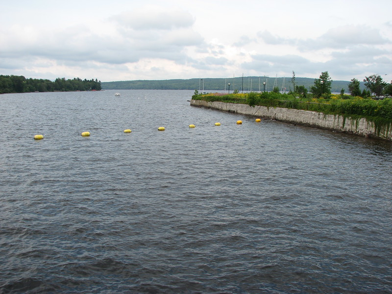 View from the Rue Frontenac bridge over the outlet of Lac Megantic, which forms the Chaudiere River