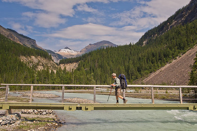 Bridge across Robson river - Berg Lake trail