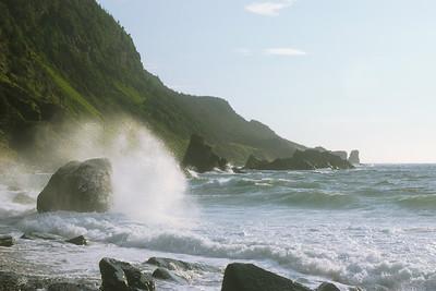 Vagues se brisant sur un rocher - Sentier Green Gardens, parc national de Gros Morne, Terre-Neuve