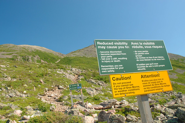 Avertissement - Sentier James Callaghan, parc national de Gros Morne, Terre-Neuve