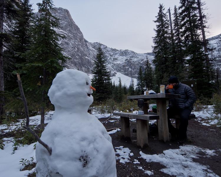Snowman at Helmet Falls campsite
