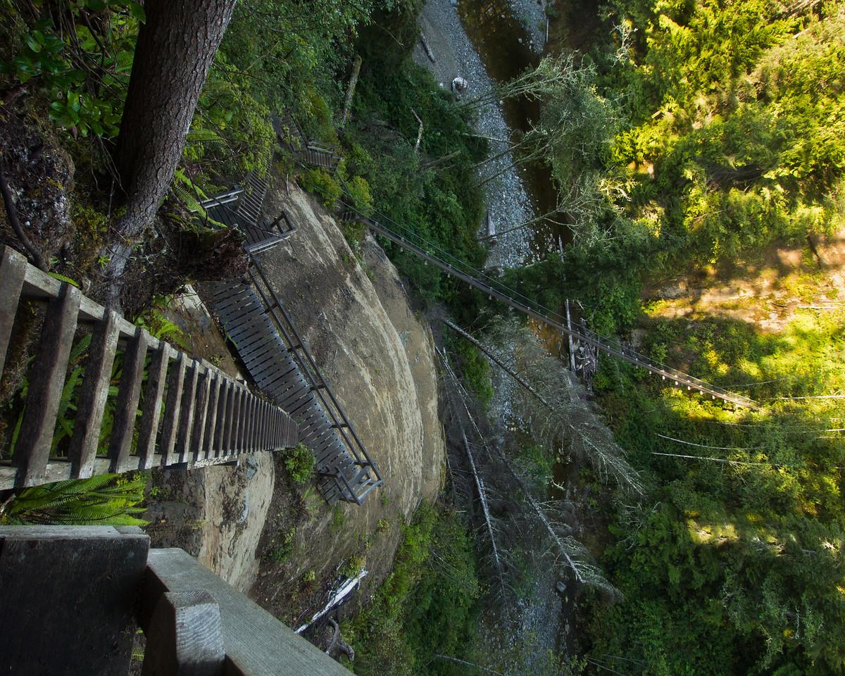 Scary ladders and bridge over Logan Creek
