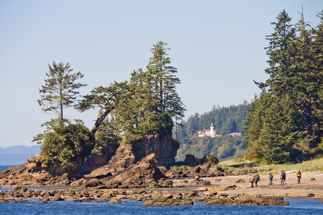 Hikers on their way to Carmanah lighthouse