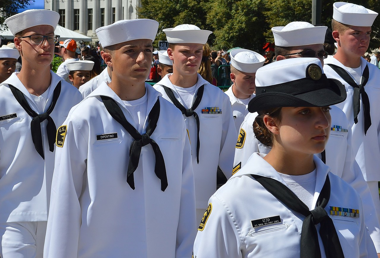 Members of US Naval Sea Cadet Corp march in 9/11 anniversary commemoration.