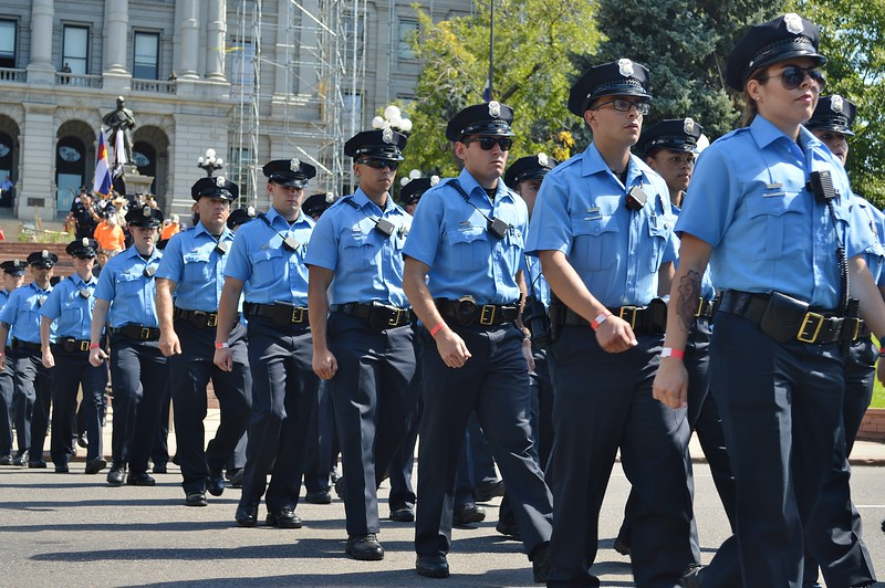 denver Police officers marching in 9/11 anniversary commemeration.
