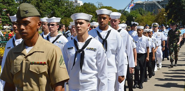 Members of US Navy march in 9/11 anniversary commemoration.