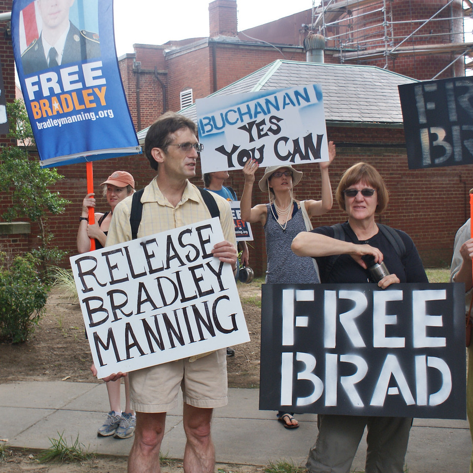 Demonstration at Ft McNair in support of imprisoned Army intelligence analyst, Bradley Manning, who is being court martialed for leaking classified documents on Iraq & Afghanistan (Washington DC 7/26/13)