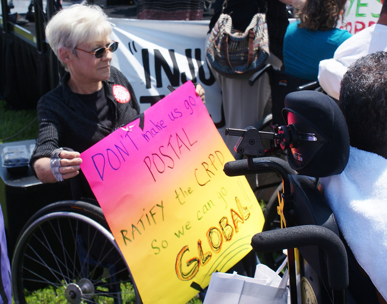 Disability Rights Advocates rally in Washington DC to urge Senators to ratify the UN's Convention On The Rights Of Persons With Disabilities. 7/25/13