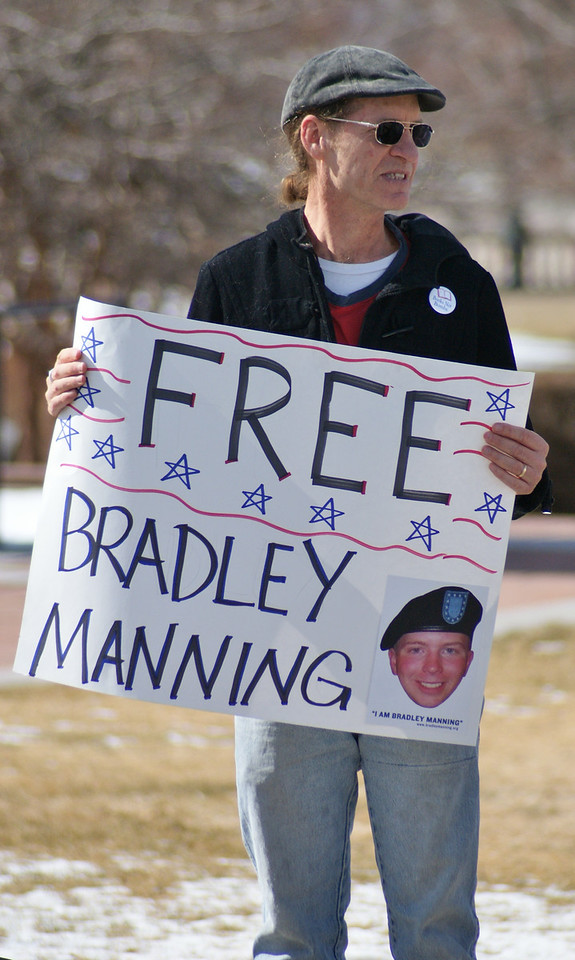 Denver area residents demonstrate in support of imprisoned Army intelligence analyst, Bradley Manning, who is being court martialed for leaking classified documents on Iraq & Afghanistan.