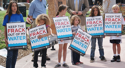 Fracking opponents rally outside the Boulder County Courthouse. County Commissioners were considering extending a moratorium on drilling permits. The current moratorium expires in June. (5/13/13)