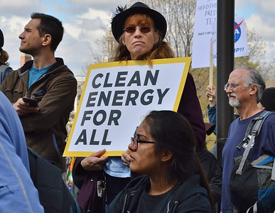 Clean energy was a concern of this woman at Denver's March For Science.