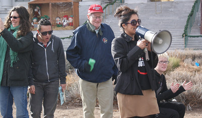 protester speaking through bullhorn (1)