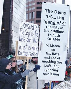Protest at Democratic Party fundraiser Denver '12 (2)