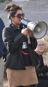 protester speaking through bullhorn (2)