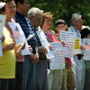 """St. Mary Church in Canandaigua holds silent protest march as part of national """"Stand Up for Religious Freedom"""" effort. Participants walked from St. Mary's to the Ontario County Courthouse."""