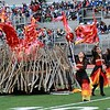 "Stacey Diamond | The Goshen News<br /> Members of Goshen's color guard perform their show ""Pyromania"" at Ben Davis High School Saturday, part of ISSMA Semi-State Class A competition."