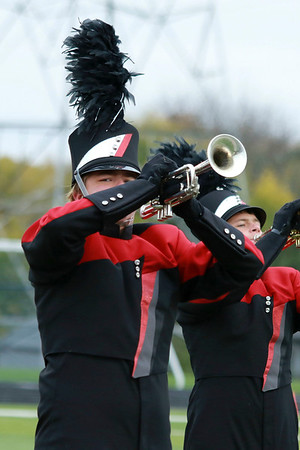 Stacey Diamond | The Goshen News Noah Brown plays the trumpet for NorthWood's band at ISSMA Semi-State.