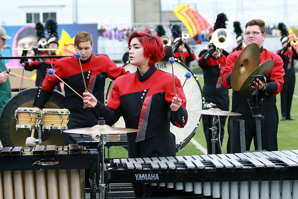 Stacey Diamond | The Goshen News<br /> The NorthWood percussionists pitch in with their music during the band's Semi-State performance Saturday.