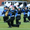 Stacey Diamond | The Goshen News<br /> Fairfield band members kneel on the field to add some pizzazz to their performance for the ISSMA judges at Saturday's Semi-State performance.